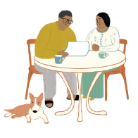 Illustration of two people sitting at a table reading a sheet of paper.