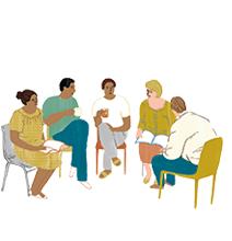a group sitting in a meeting illustration