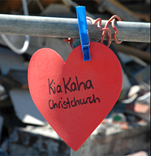 the message Kia Kaha on a paper heart